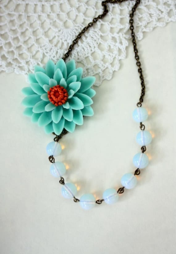Summer Days Ahead.  A Large Turquiose Chrysanthemum Flower, Moonstone Gemstone Necklace. Spring Inspired. Gift For Mom. Bridesmaid Gift.