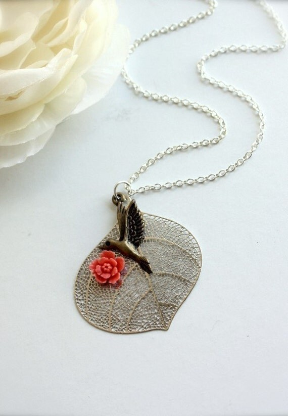 A Hummingbird's Flight of Fancy II - A Silver Plated Necklace. Lovely Gift.  Romantic, Sweet. Nature Inspired.