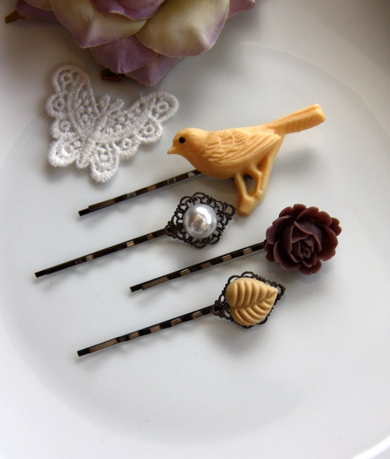 Floral Wonderland No.10 - Sweet Gunmetal Hair bobby Pins / Hair Clips - Lovely Gift. Bridal Gifts. Summer Inspired.