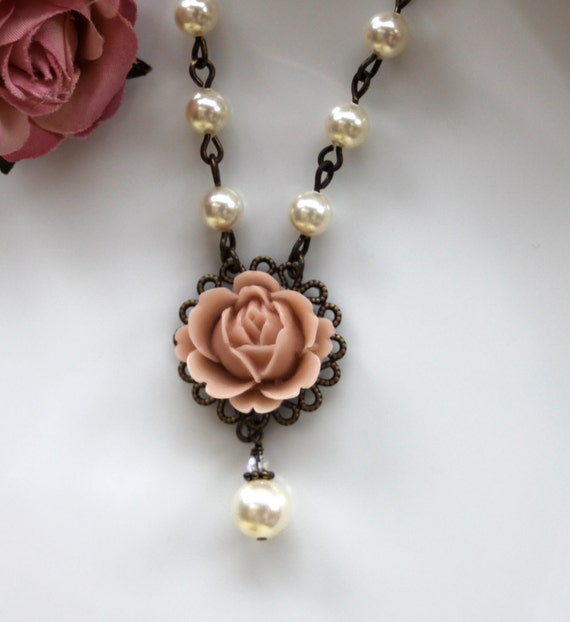 A Soft Nude Pink Rose Flower & Glass Pear Glass Jewel Necklace. Bridal Gift Party. Wedding Gift Ideas. Great Gift. For Her