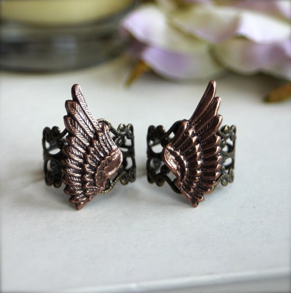 A Pair of Oxidized Copper Wings on Antiqued Bronze Filigree Adjustable Ring - Best Friends Forever rings, Sisters Rings, Romantic Rings