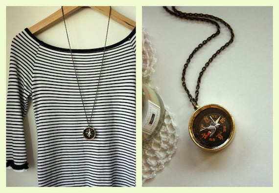 Navigating Home - A Flying Swallow, Vintage Inspired Brass Compass Necklace - Unique Gift. Unisex. Never Lost. Gifts for Daughter. For Son
