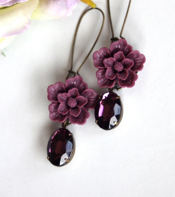 Purple Love - An Amethyst Vintage Glass Oval Jewels with Purple Sakura Flowers Earrings. For Mom. Bridesmaid Gift. Wedding