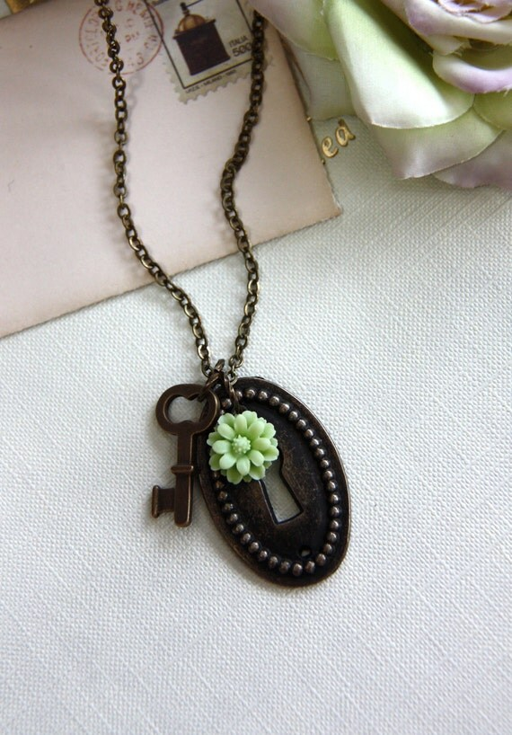 If The Key Fits.....A Keyhole and Key with Daisy Flower Brass Necklace.  Unique and Lovely Gift