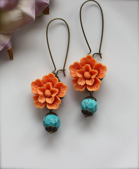 Orange Wedding. A Bright Orange Sakura Flower with Howlite Gemstone Beads Earrings.  Cheerful. Summer. Gifts for Mom