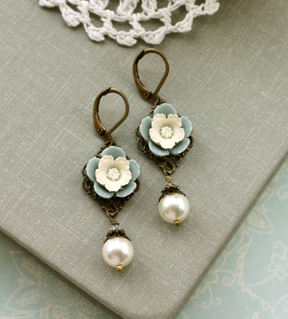 Dusty Blue Ivory Pearls Earrings, Creamy Pansy Flower, Ivory Pearl Earrings. Dusk Blue Bridesmaids Gifts, Blue Ivory Wedding, Something Blue