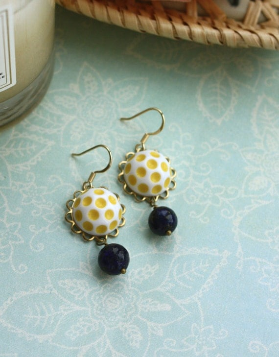Spring Forward. A Vintage Yellow Polka Dot Glass Dome Cabochon, Genuine Lapis Lazuli Gemstone Beads Earrings.  Easter Spring. For Mom.