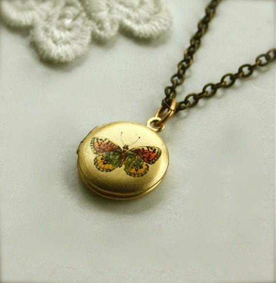 A Dainty, Sweet, Tiny Butterfly Brass Locket Necklace. Butterfly Lover. Gifts for Sister. Gifts for Mother. Photo Locket. Keepsake Locket.