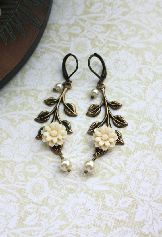 An Ivory Dahlia Flower, Oxidized Brass Leaf,  Cream Ivory Pearls Leverback Earrings. Bridesmaids Gifts.  Vintage Themed Wedding Earrings.