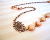 Toffee Delight - Glass Beaded Copper Necklace - FREE WORLDWIDE SHIPPING