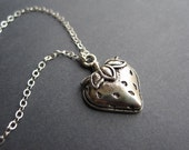 The Antique Silver Sweet Strawberry Necklace - Sterling Silver Chain - The Everyday Collection