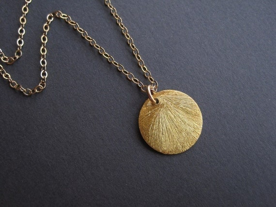 24K Gold Vermeil Brushed Circle Charm Necklace - 14K Gold Filled Chain - The Everyday Miniature Collection
