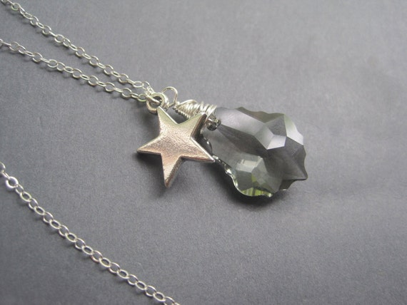 Reserved for Tynanne Only - Sterling Silver Star Gray Swarovski Baroque Crystal Necklace