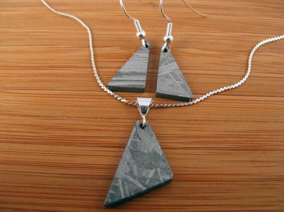 Muonionalusta Iron Meteorite Silver Pendant and Earrings