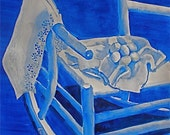 Rocking Chair and Eggs  original watercolor, framed and matted  free shipping