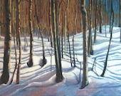 Trees forest snow aspens   print from original oil.  8x10.