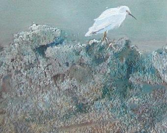 "Heron, bird, beach, rocks, blue slate, laguna, mist, water birds ""Three in the Mist""  print 6 x 24"