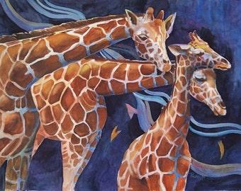Three Giraffes 21 x 29 watercolor     free shipping