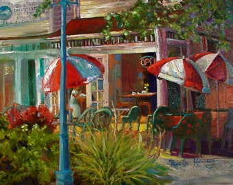 Sunny Cafe  print from an original oil