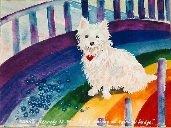 Westy Dog Rainbow Bridge 8 x 10  free shipping in US