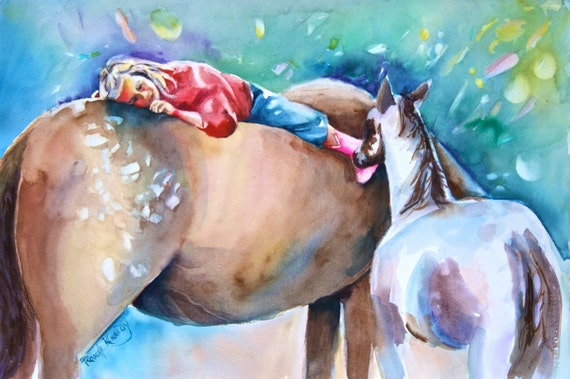 Little girl, mare, colt and  pink boots unframed