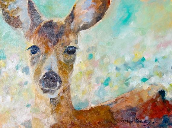 A Deer In My Garden  18 x 24 original