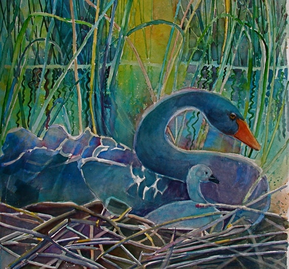Swan Mother and Cygnet in blues 8 x 8  free shipping in US