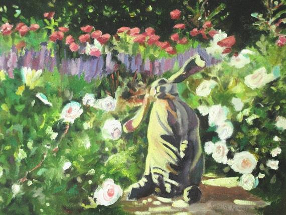 Ceramic Bunny in Flower Garden print from original oil 8 x 10  free shipping