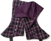 aubergine plaid tall spats with lining - standard or custom size