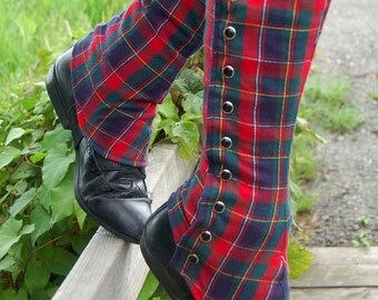 Plaid Tall Spats - Standard or Custom Size