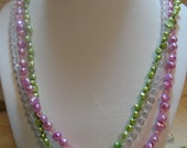 Pink & Green Tri-strand Necklace