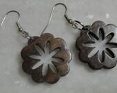 Wood Flower Laser Cut Earrings