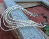 Love and Lace, 5 strand vintage pearl necklace