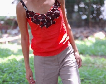 Embroidered Tank Top in Cotton Voile