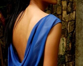 Silk Chiffon Cowl-Back Sleeveless Top