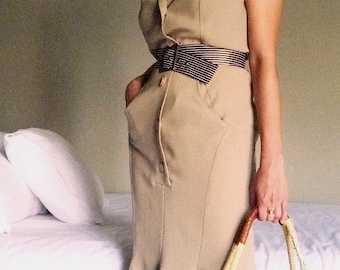 Lauren Retro Knee-Length Button-Down Dress