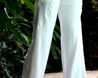 Classic Stretch Cotton Linen Loose-Straight Legged Pants w/ Hidden Side Pockets