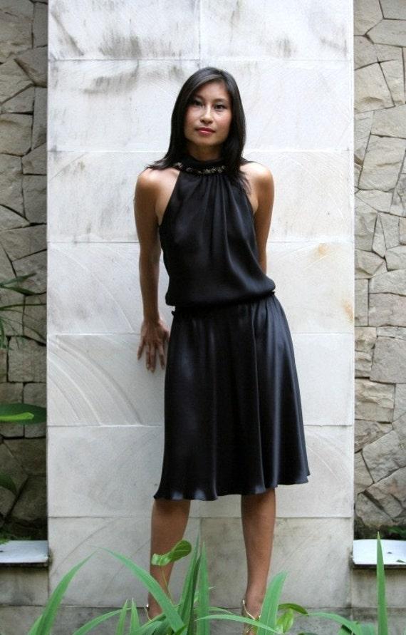 Beaded Rolled-Collar Satin Halter Dress