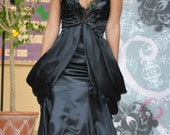 Black Peacock Feather Train Goth Wedding Gown Corset Bustier Sweetheart