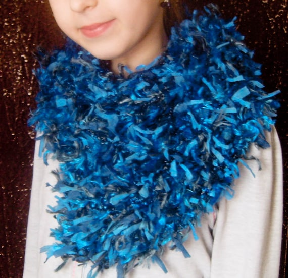 Colorful Fun Fashion - Knitted Scarf Fuzzy Boa Blue Grey Black - Made to Order