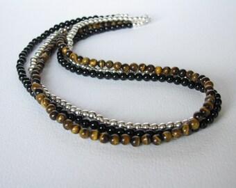 Necklace - Tiger Eye - Black Onyx - Sterling Silver - 3-Strand
