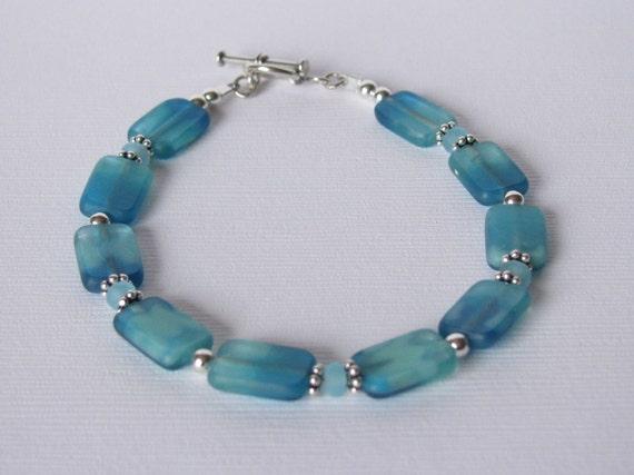 Bracelet - Teal and Aqua Czech Glass - Sterling Silver