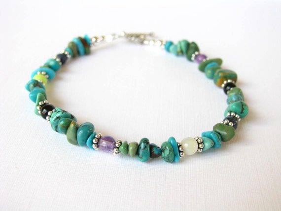 Bracelet - Turquoise -Black Onyx - Amethyst - Dumortierite - Lime Green Turquoise - Mother of Pearl - Sterling Silver Accents