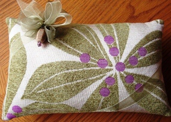 Lavender Filled Pillow -- Chenile Floral  -- Fabric from Mood Fabrics (Project Runway) in New York