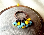 Yellow Glass Hearts and Baby Blue Flowers Ring