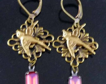 Vintage Flying Bird Pink Rhinestone Dangle Brass Earrings with Free Gift Tin