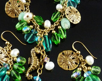 Gold Filled Carribean Colors Czech Glass Pearl Seahorse and Sand Dollar Necklace Set