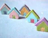 5 Colorful Charleston Row Houses Mini Little Clay Houses MADE to ORDER More Ready Soon Pastel Colors Charming Designs