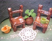 2 Miniature Garden Chairs Rustic Look Handcrafted Clay Caramel Golden Brown