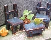 2 Miniature Clay Garden Decor Chairs & Bench Midnight Blue Handcrafted Stoneware